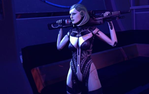 Фото обои робот, mass effect, bioware, edi, sniper rifle
