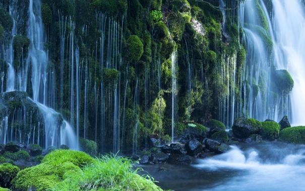 Фото обои камни, водопад, мох, поток