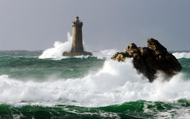 Фото обои скалы, небо, маяк, природа, волны, море