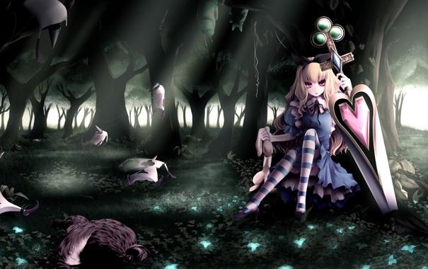 Фото обои лес, карты, девушка, гусеница, меч, кролик, платье