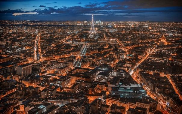 Фото обои облака, ночь, огни, башня, париж, дома, панорама