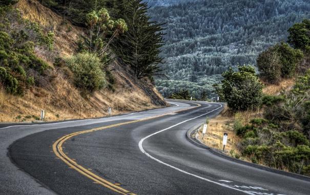 Фото обои дорога, пейзаж, горы