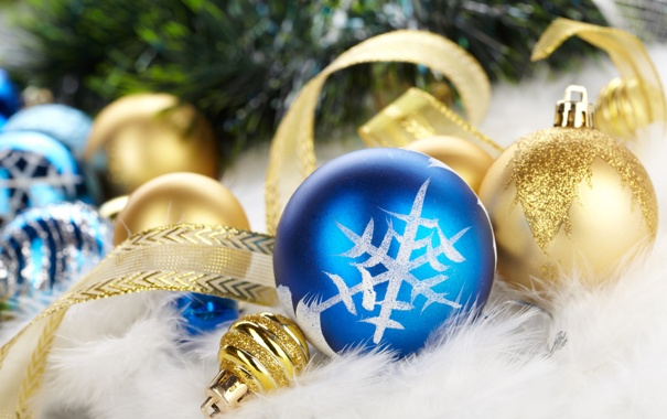Фото обои синий, шары, елка, пух, лента, золотой, снежинка