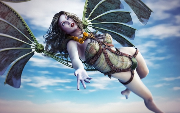 Фото обои девушка, механизм, крылья, арт, в небе