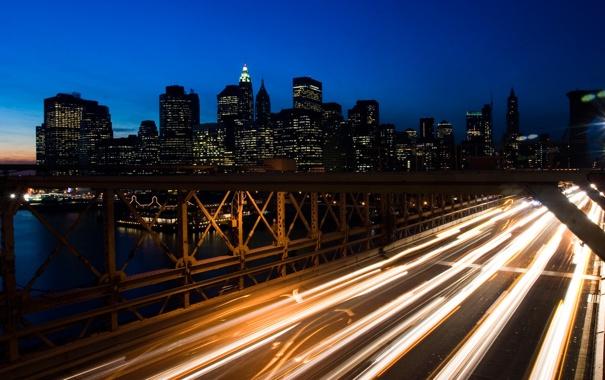 Фото обои ночь, мост, огни