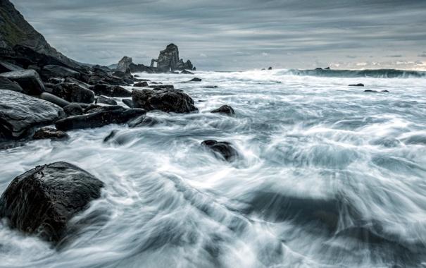 Фото обои море, пейзаж, ночь, камни