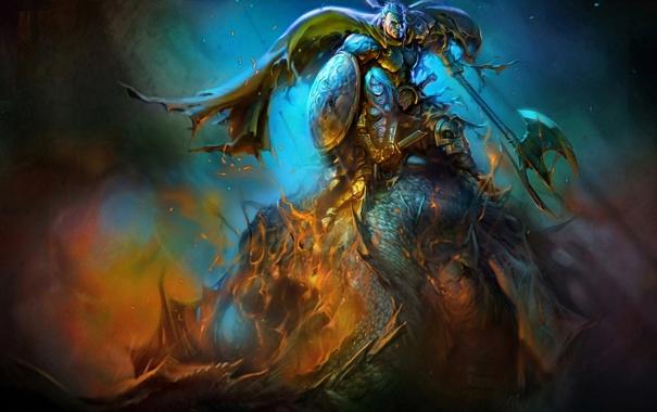 Фото обои девушка, оружие, дракон, воин, арт, парень