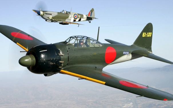 Фото обои небо, полет, самолет, истребитель, пилот, пропеллер