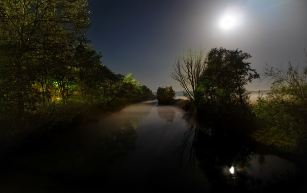 Фото обои вода, свет, ночь, луна, пейзажи, месяц