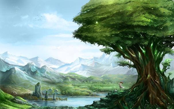 Фото обои зелень, девушка, пейзаж, горы, озеро, дерево, скалы
