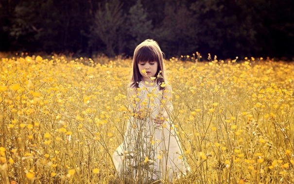 Фото обои листья, цветы, ветки, природа, настроения, девочка