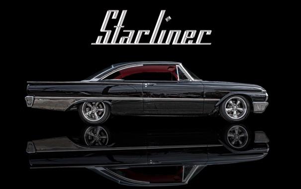 Фото обои фон, чёрный, автомобиль, классика, Ford Starliner