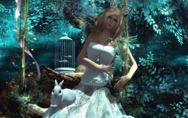 Фото обои девушка, клетка, кролик