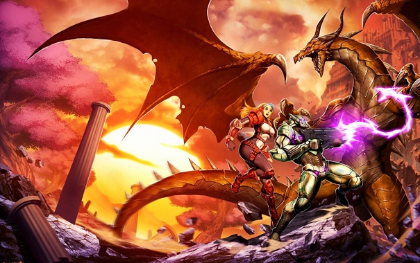Фото обои девушка, закат, камни, оружие, дракон, мужик, колонны