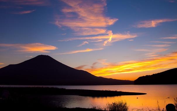 Фото обои закат, озеро, гора, Япония, Фуджи