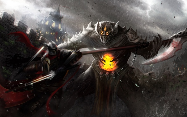 Фото обои оружие, замок, дождь, монстр, воин, арт, битва