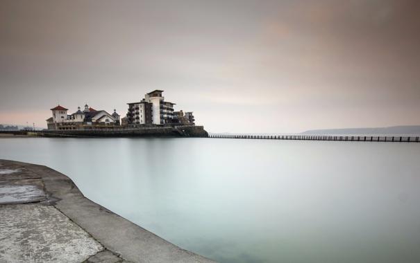 Фото обои море, мост, England, Weston-Super-Mare