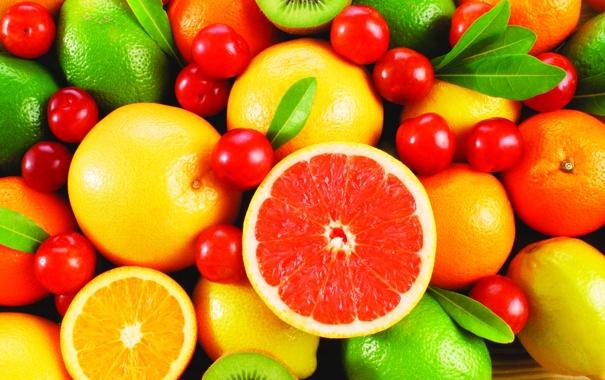 Фото обои апельсины, киви, фрукты, лимоны, вишни, грейпфруты