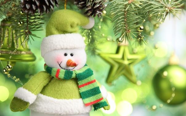 Фото обои звезды, украшения, елка, Новый год, снеговик, new year, колокольчик