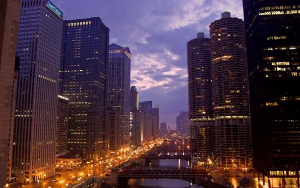 Фото обои небо, ночь, река, здания, небоскребы, панорама, USA