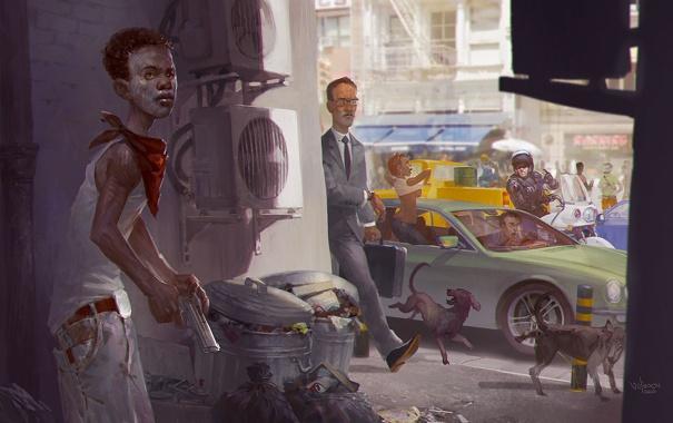 Фото обои пистолет, люди, ситуации, улица, арт, афро-американец