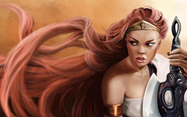 Фото обои взгляд, девушка, лицо, фон, игра, рука, меч