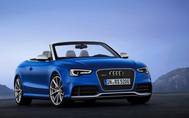 Фото обои Audi, Небо, Ауди, Синий, Машина, Кабриолет, Капот