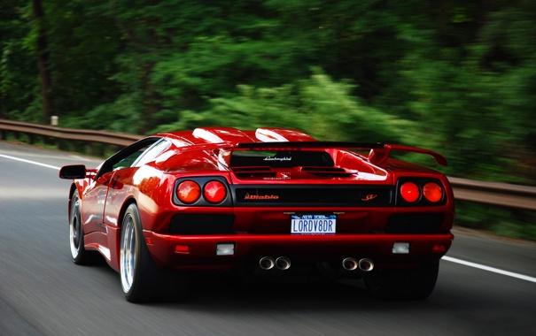 Фото обои дорога, Lamborghini, Diablo