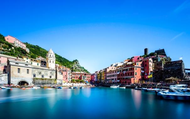 Фото обои море, небо, дома, лодки, Италия, гавань, Вернацца