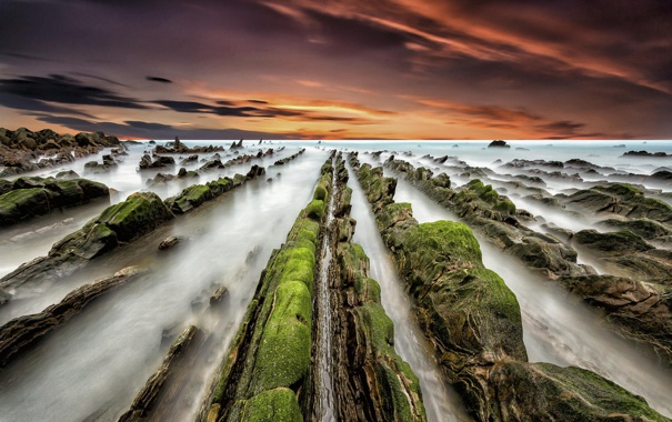 Фото обои море, рассвет, берег, Испания