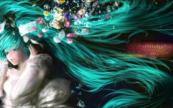 Фото обои цветы, пузыри, волосы, рыба, vocaloid, hatsune miku, под водой