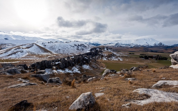 Фото обои поле, пейзаж, горы, природа