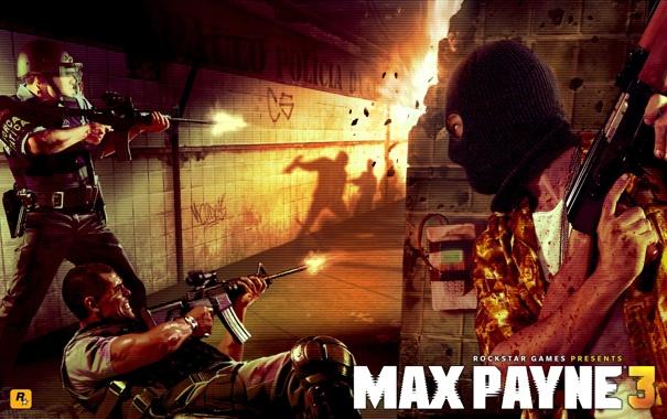 Фото обои оружие, метро, полиция, солдат, автомат, Max Payne 3