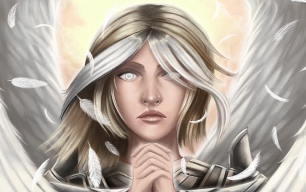 Фото обои взгляд, лицо, волосы, крылья, ангел, перья, руки