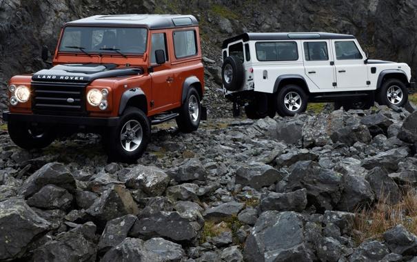 Фото обои камни, джип, внедорожник, Land Rover, Defender, дефендер, лэнд ровер