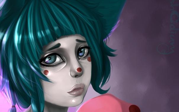 Фото обои грусть, взгляд, девушка, лицо, пятна