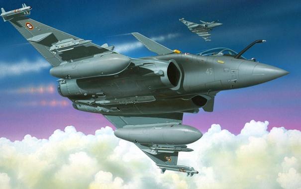 Фото обои рисунок, ракеты, арт, пара, Dassault, Dassault Aviation, Rafale