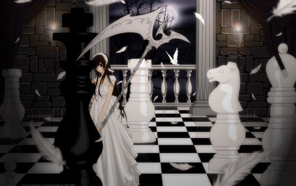 Фото обои девушка, шахматы, фигуры, король, Юки Кросс Куран, Артемида