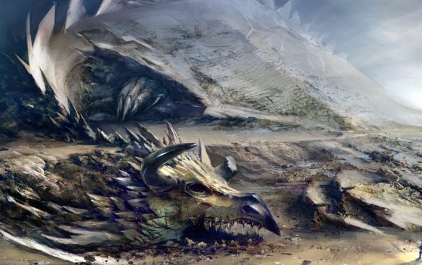 Фото обои скалы, дракон, человек, монстр, Guild Wars