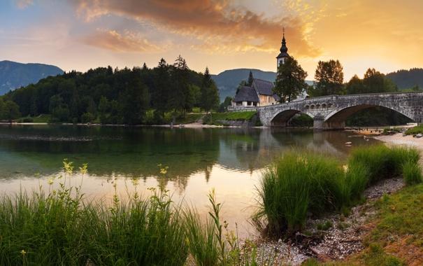 Фото обои небо, пейзаж, мост, природа, город, река, фото