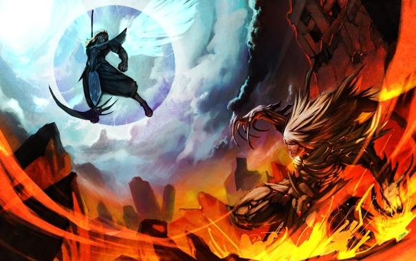 Фото обои оружие, огонь, крылья, ангел, демон, арт, коса