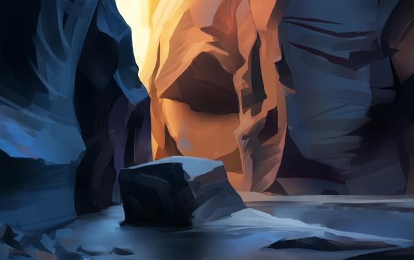 Фото обои солнце, линии, закат, скалы, камень, арт, каньон