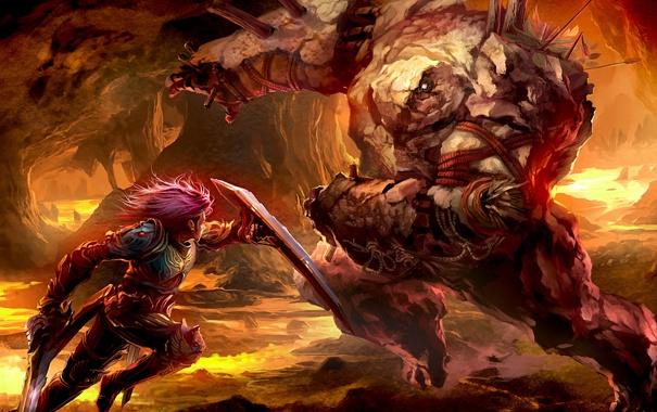 Фото обои меч, доспехи, воин, лава, пещера, щит, голем