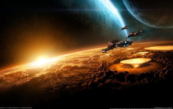 Фото обои взрыв, планета, терран, крейсер, Star Craft 2, SC2