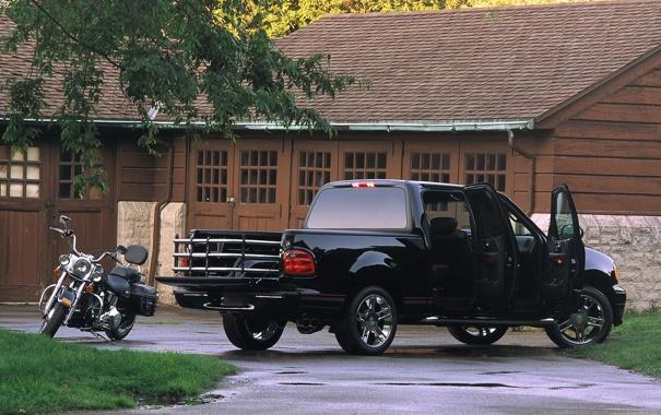 Фото обои чёрный, мотоцикл, ford, форд, пикап, f-150, supercrew