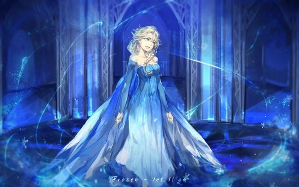 Фото обои Девушка, Платье, Снежинки, Frozen, Disney, Art, Elsa