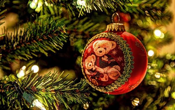 Фото обои ветки, елка, шарик, огоньки, Новый Год, медведи