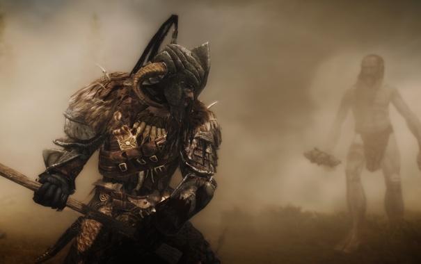 Фото обои игра, великан, герой, боец, skyrim, скайрим, The Elder Scrolls V