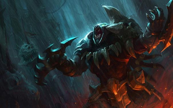 Фото обои оружие, дождь, арт, ярость, головы, league of legends, rengar