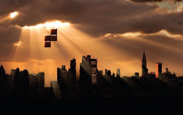 Фото обои город, креатив, небоскребы, солнечные лучи, тетрис